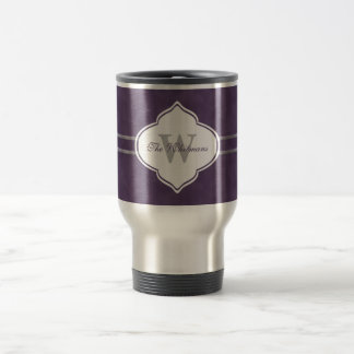 Deep Purple Monogram Travel Mug