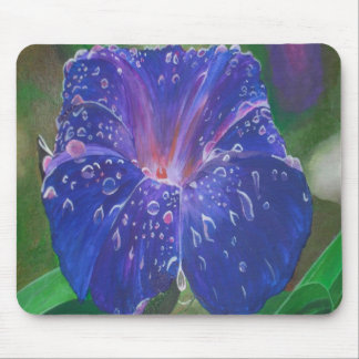 Deep Purple Morning Glory With Morning Dew Mouse Pad