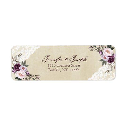 Deep Purple Peonies Floral Wedding Return Address Label