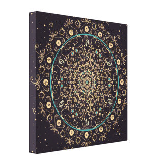 Deep Purple Sky  Mandala Canvas Print