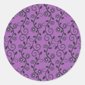 Deep Purple With Black Vines Sticker