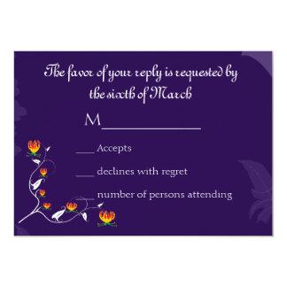 Deep Purple with vibrant gloriosa lily 13 Cm X 18 Cm Invitation Card