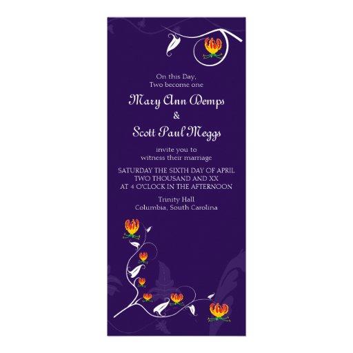 Deep Purple with vibrant gloriosa lily Personalized Invitation