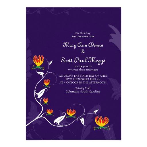 Deep Purple with vibrant gloriosa lily Custom Announcements