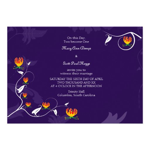 Deep Purple with vibrant gloriosa lily Custom Announcement