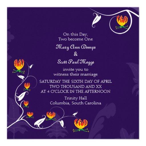 Deep Purple with vibrant gloriosa lily Custom Invites