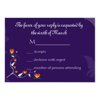Deep Purple with vibrant gloriosa lily 5x7 Paper Invitation Card