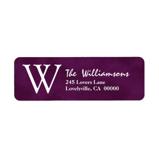 Deep Purple with Watercolor Feel Monogram Return Address Label