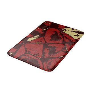 Deep Red Abstract Geometric Pattern With Beige Bath Mat