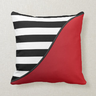 Deep Red and Black and White Stripes Reversible Cushion