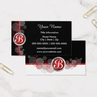Deep Red, Black and White Abstract Business Card