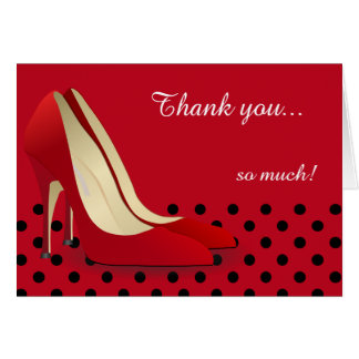 Deep Red, Black Polka Dots and Red Pumps Note Card
