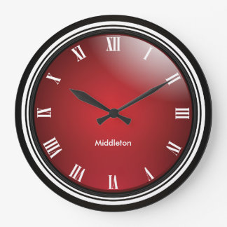 Deep Red, Black & White with Roman Numbers Wallclock
