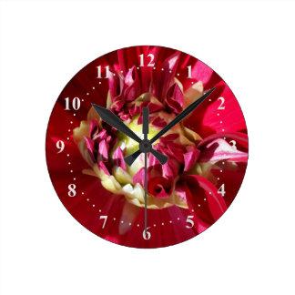 deep red bloom wall clocks