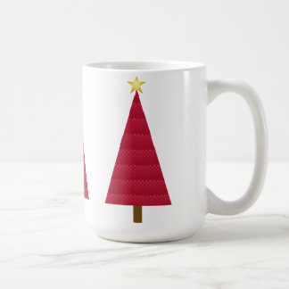 Deep red damask modern Christmas tree Basic White Mug