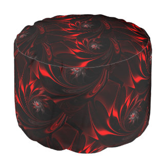 Deep red Flowers on Spun Polyester Round Pouf