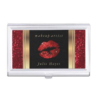 Deep Red Glitter Lips on Gold & Black Business Card Holder