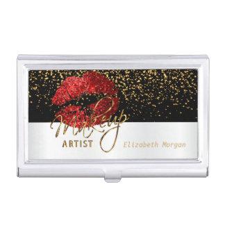 Deep Red Glitter Lips on White & Black Business Card Holder