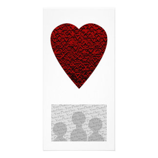 Deep Red Heart. Patterned Heart Design. Photo Cards