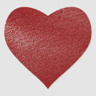 Deep Red Leather Look Heart Sticker