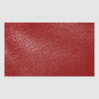 Deep Red Leather Look Rectangular Sticker
