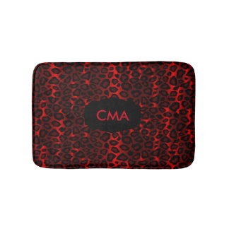 Deep Red Leopard Monogram Pattern Bath Mat