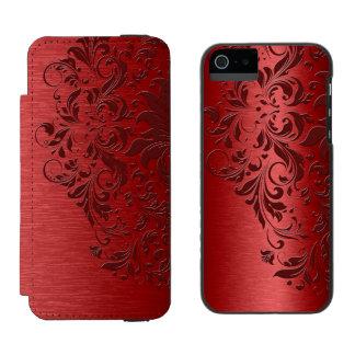 Deep Red Metallic Texture & Dark Red Lace Incipio Watson™ iPhone 5 Wallet Case