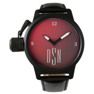 Deep Red Metallic Watch with 3-Initial Monogram