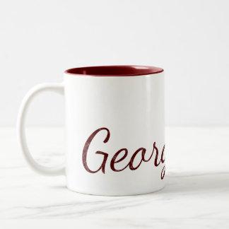 Deep Red Monogrammed Textured Name Two-Tone Coffee Mug