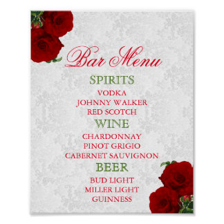 Deep Red Rose Floral Wedding - Bar Menu Poster
