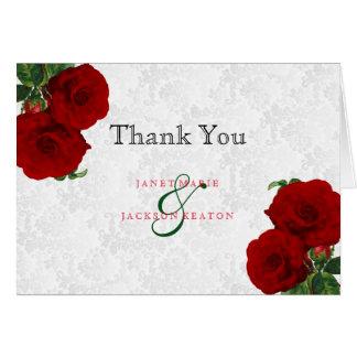 Deep Red Rose Floral Wedding Card