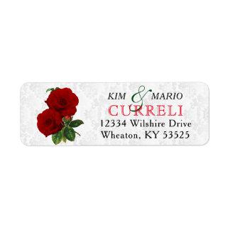 Deep Red Rose Floral Wedding Return Address Label