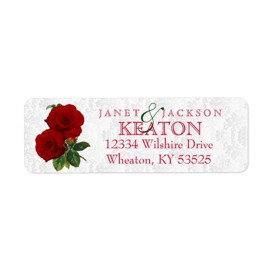 Deep Red Rose Floral Wedding Return Address Label