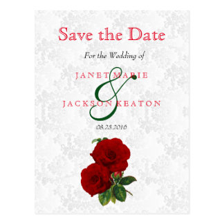 Deep Red Rose Floral Wedding - Save The Date Postcard