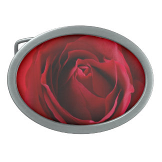 deep red rose oval belt buckle