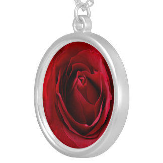 deep red rose silver plated necklace