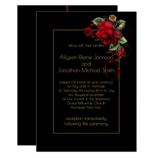 Deep Red Roses Greenery Gold Sparkles Wedding   Card