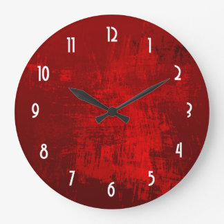 Deep Red RusticTexture Abstract Background Clock