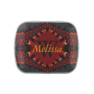 Deep Red Satin Lace ruffles Custom Name Monogram Jelly Belly Tins