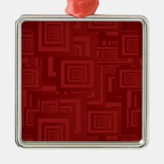 Deep Red Squares Metal Ornament