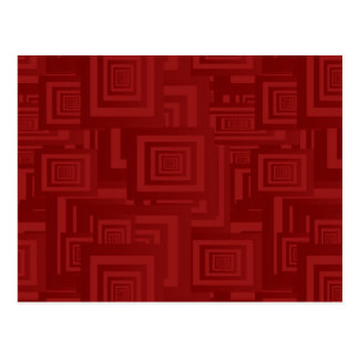 Deep Red Squares Postcard