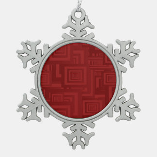 Deep Red Squares Snowflake Pewter Christmas Ornament
