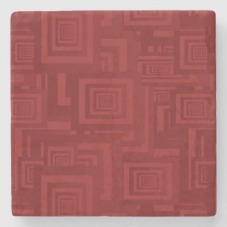 Deep Red Squares Stone Coaster