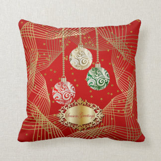 Deep Red & Swirly Gold Dot Christmas Accents Cushion
