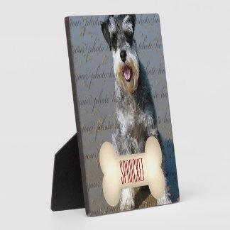 Deep Red Text on Bone with Pet's Photo Plaque