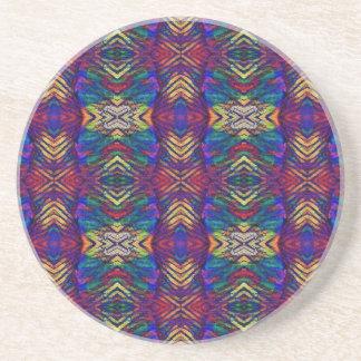 Deep Rich Fall Blues Purple Tribal Pattern Coasters