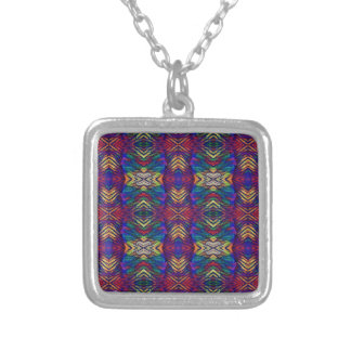 Deep Rich Fall Blues Purple Tribal Pattern Silver Plated Necklace