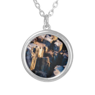 deep rock crevice silver plated necklace