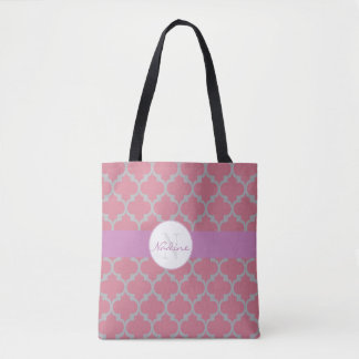 Deep rose, grey and purpe quatrefoil tote bag