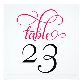 Deep Rose Pink Curly Script Table Number 13 Cm X 13 Cm Square Invitation Card